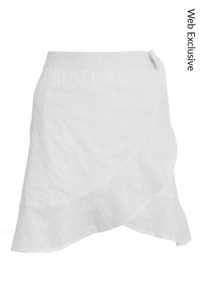 White Floral Wrap Skirt